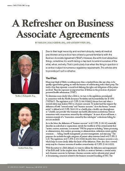 A Refresher on Business Associate Agreements - Chester